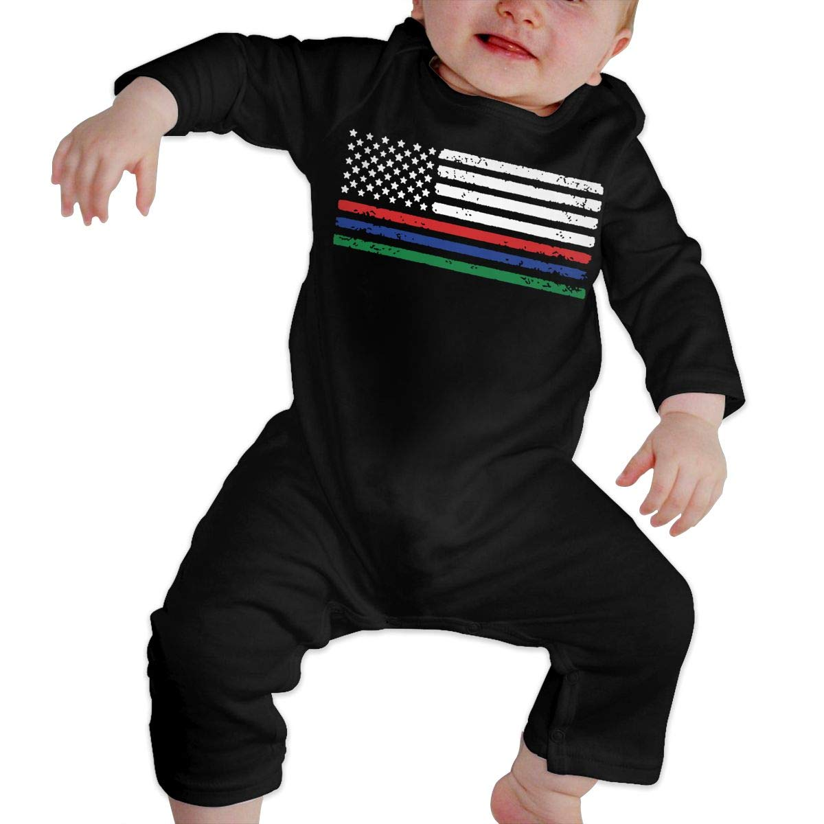 Soft Thin Red Blue Green Line American Flag Crawler U99oi-9 Long Sleeve Cotton Rompers for Baby Boys and Girls