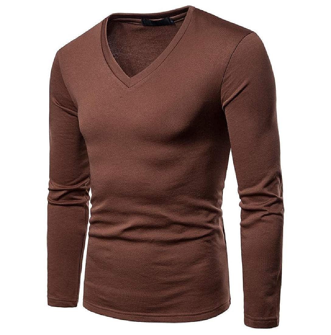 YUNY Mens Solid Tops Notch Collar Plus Velvet Sportswear T-Shirts Brown L