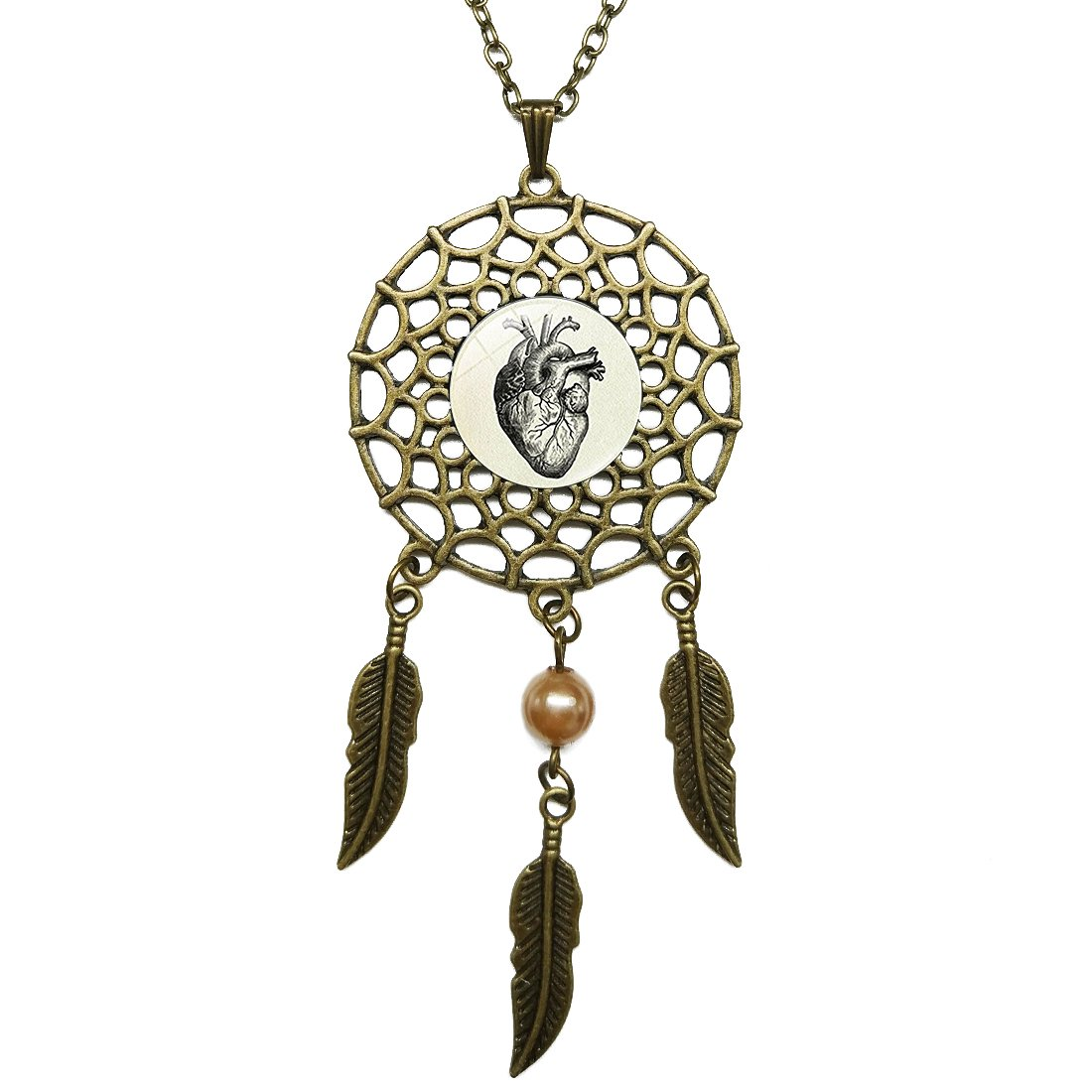 Dreamcatcher Pendant Heart Anatomical Drawing Bronze Chain Long Necklace Jewelry Dangling Feather Charms Glass Inlaid