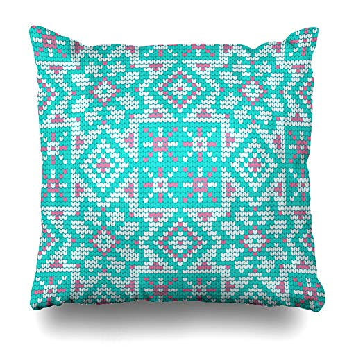 Ahawoso Throw Pillow Cover Ugly Green Baltic Pattern Sweater Icelandic Abstract Vintage Pink Canvas Christmas Design Yarn Home Decor Pillowcase Square Size 18 x 18 Inches Zippered Cushion Case