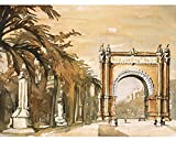 Watercolor painting of the Arc de Triomf in Barcelona, Spain