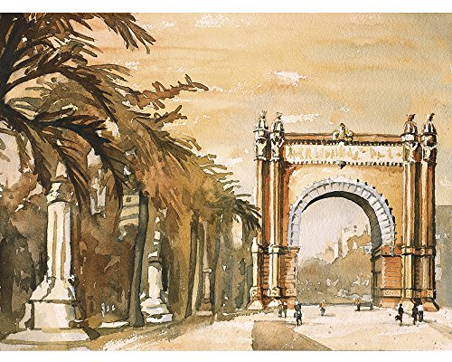 Watercolor painting of the Arc de Triomf in Barcelona, Spain by Ryan Fox Fine Art