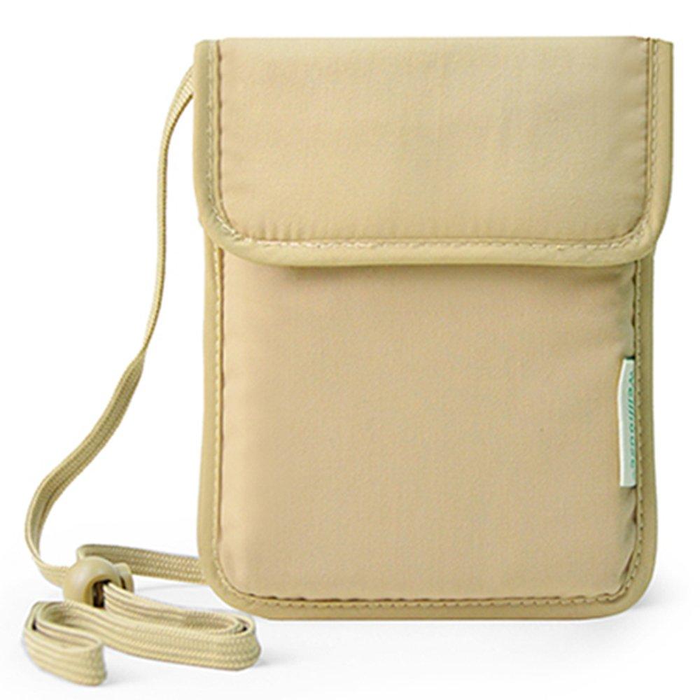 WELLHOUSE Travel Neck Stash Hidden Security Wallet WH-0034 (Khaki)