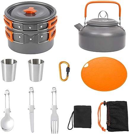 yidenguk Kit de Utensilios Cocina Camping, Juego de Cocina al Aire Libre de Aluminio Antiadherente para 2 a 3 Personas, para Viajes con Mochila y ...