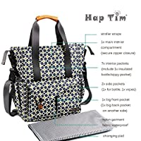 HapTim Stylish Multi-function Baby Diaper Bag W/ Stroller Straps- Insulated Pocket- Changing Pad, Nylon Fabric Waterproof for Moms & Dads (Gray+Gold 5283) from Hap Tim