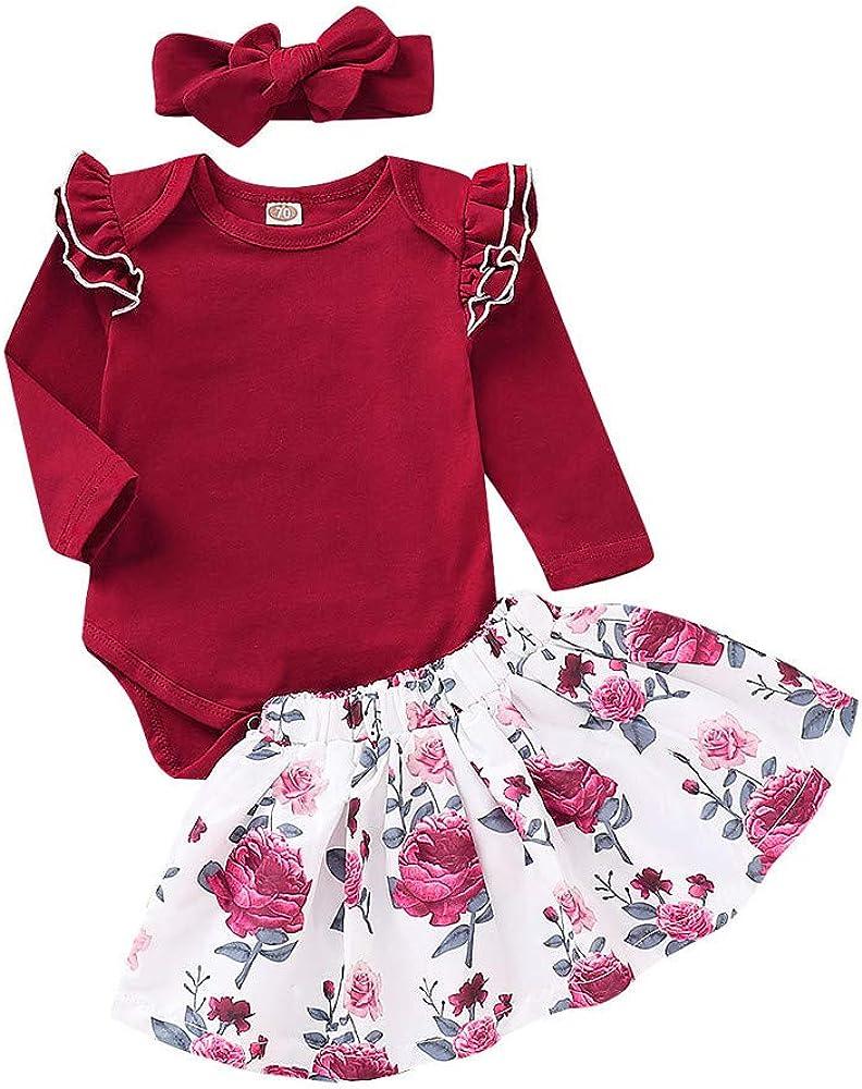 Cinnamou Conjuntos de Niños Niñas Tres Piezas de Ruffles Mono Bodysuit y Falda Estampada y Diadema para Bebes Niña: Amazon.es: Ropa y accesorios