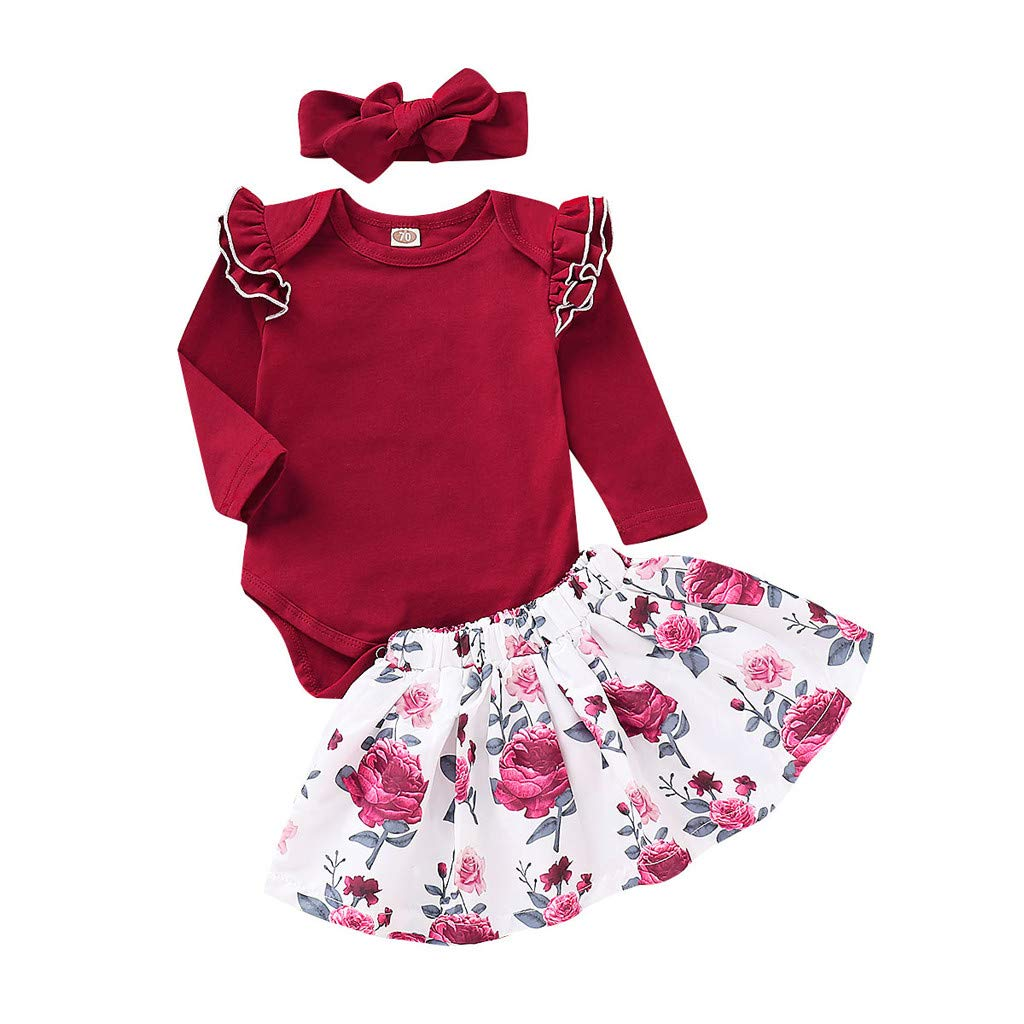 NUWFOR Infant Baby Girls Solid Jumpsuit Romper+Floral Print Skirts+Headbands Outfits (Red,12-18 Months)