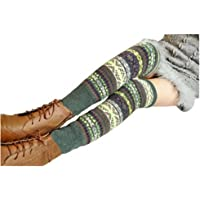 Wonderful Lifetime Women Fashion Winter Bohemian High Leg Knit Crochet Leg Warmers (Green)
