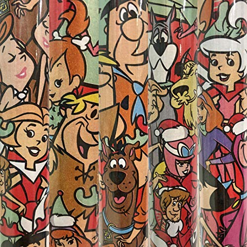 WB 2 Rolls Classic Style Hanna Barbera Gift Wrapping Paper Featuring Scooby Doo, Flinstones, Jetsons 40 sq ft Total]()