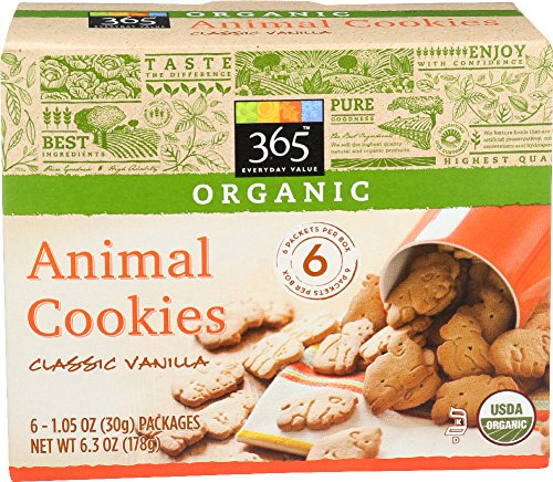 (365 Everyday Value, Organic Animal Cookies Classic Vanilla, 1.05 Ounce, 6 Count)