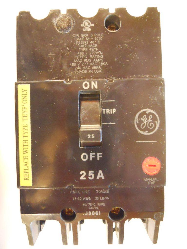 GE (General Electric) - TEYF325 - Circuit Breaker, 25 Amps, Number of  Poles: 3, 277/480VAC AC Voltage Rating: Amazon.com: Industrial & Scientific