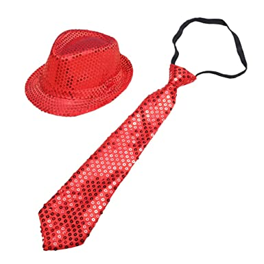3f0fc47d90c5b Amazon.com  ZTL Sequins Fedora Hat and Necktie Set Party Costume Accessory  for Adults   Kids  Clothing