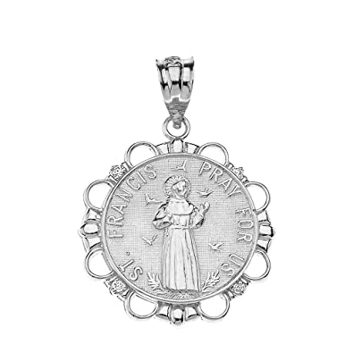 8d1468ff8cb Image Unavailable. Image not available for. Color: 925 Sterling Silver  Cubic Zirconia Round St Francis Of Assisi Medal Pendant