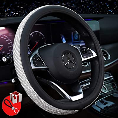MLOVESIE Steering Wheel Cover with Crystal Bling Bling Rhinestones for Girls,Lady Universal Fit 38cm: Automotive