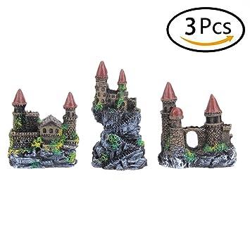 3 piezas de decoración de acuario pequeño castillo artificial Rockery pintado a mano con detalles realistas pecera pecera paisaje adorno: Amazon.es: ...