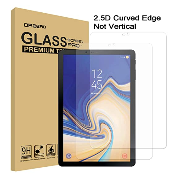 [2 Pack] Orzero for Samsung Galaxy Tab S4 2018 T835 / T830 Tempered Glass  Screen Protector, 9 Hardness HD Anti-Scratch Full-Coverage [2 5D Arc Edges]