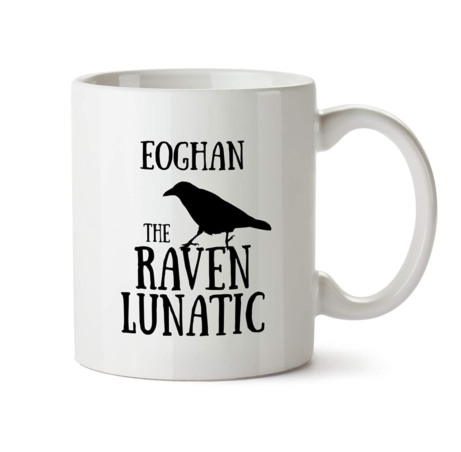 PG2006 Unique Unusual Coffee Tea Novelty Present for Birthdays and Christmas Eoghan Name Raven Lunatic Saying Coffee Cup