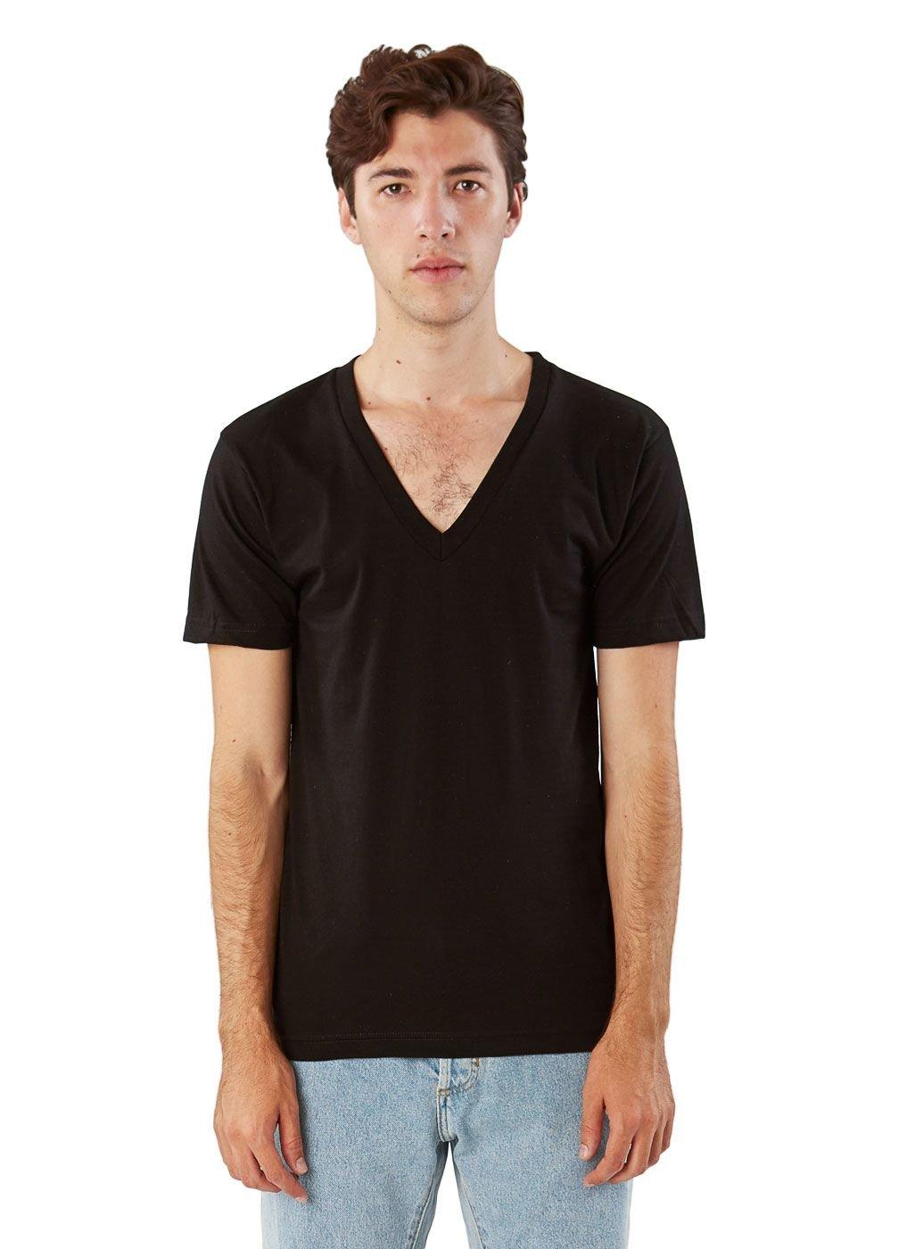 American Apparel Unisex Fine Jersey Short Sleeve V-Neck, Black, X-Large