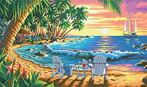 Dimensions Crafts Paintworks Paint by Number Kit, Sunset Beach by Dimensions Crafts