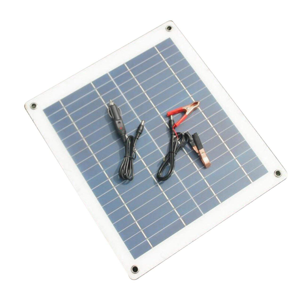 Ironheel 30W 18V Solar Panel Charger Semi-Flexible Solar Panel High Efficiency Battery Charger with Alligator Clip Wire for Car Boat
