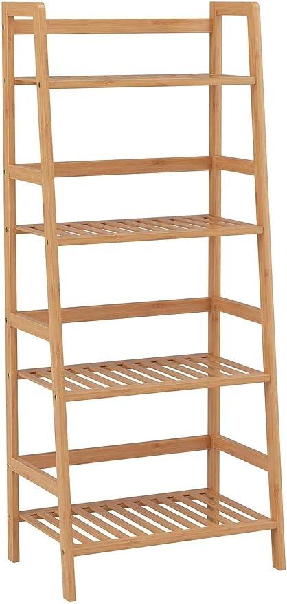 Wghz 4 Nivel de Escalera Estante estantes de Almacenamiento Unidad de bambú Estante Estantes Soporte Planta Soporte 115x48x32cm: Amazon.es: Hogar