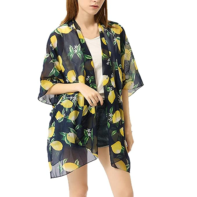 18842d4eb0c54 Smdoxi Women Lemon Loose Chiffon Long Kimono Cardigan Cover up Outwear  (Nary)