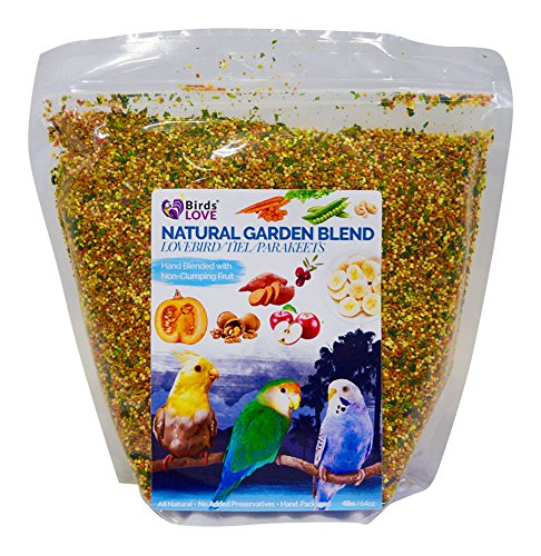 Love Natural (Birds LOVE All Natural Garden Blend Bird Food for Small Birds - Lovebirds, Cockatiels, Parakeets and Parrotlets 4lb)