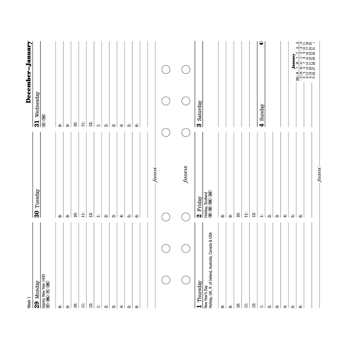 Filofax Week to View Horizontal Refill for 2016 Personal/Compact Size Yearly Calendar (C68420-16)