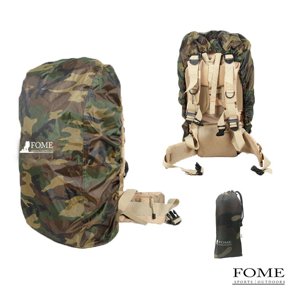 バックパック雨カバー、FomeナイロンバックパックRain Cover forハイキング/キャンプ/旅行+ A FOMEギフト B071DGJVJF Large|FOME-Camouflage FOME-Camouflage Large