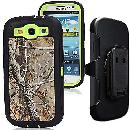 Samsung Galaxy S3 Case,S3 Holster Case,Auker 3 in 1 Shockproof Heavy Duty Natural Tree Camouflage Rugged Silicon Bumper Defender Protective Cover with Built-in Screen Protector/Belt Clip (T-Green) (S3 Case Box Otter)