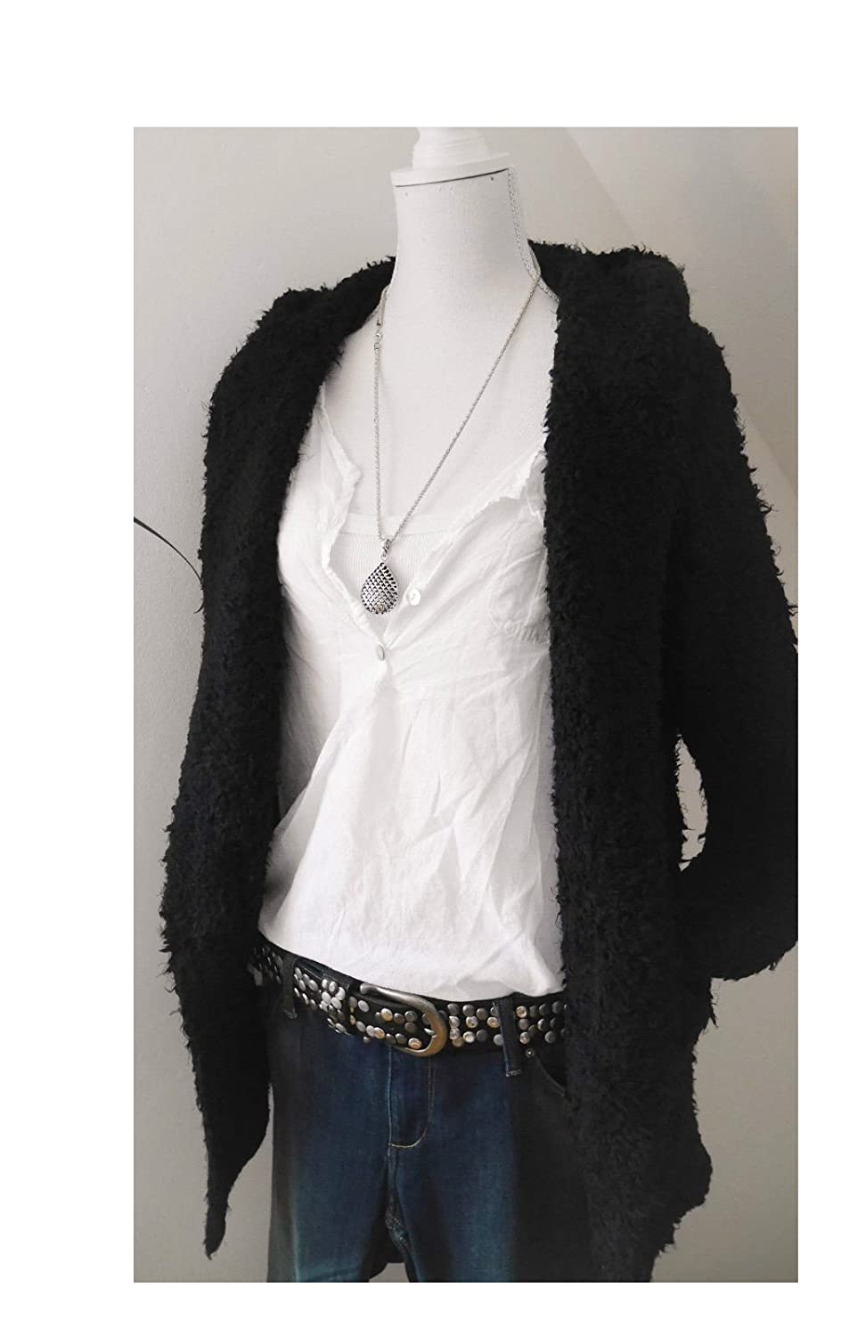 Fashion Trend Mode Long Cardigan Kuscheljacke Kapuze Strick Jacke Mantel schwarz black M L 40 42 44 (1439)