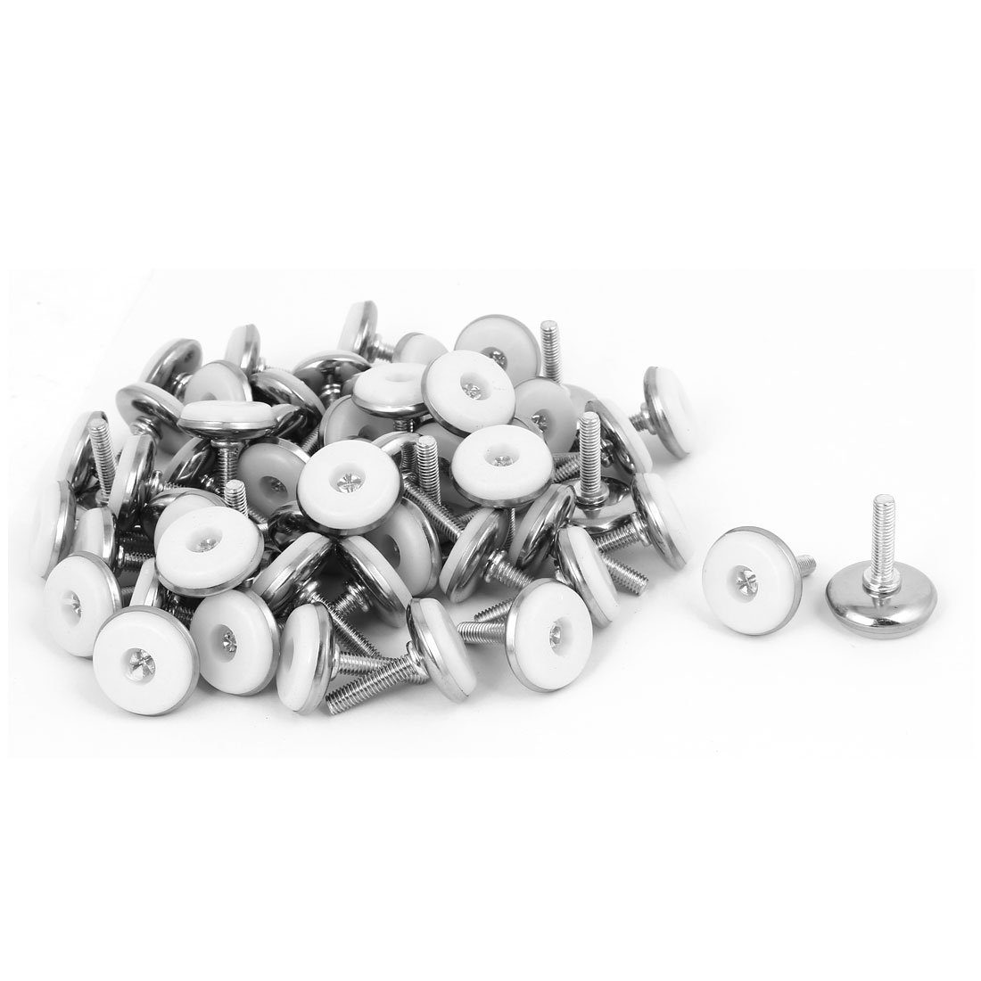 uxcell M6x25mm Plastic Base Adjustable Leveling Glide Foot 60pcs for Cabinet Table Leg