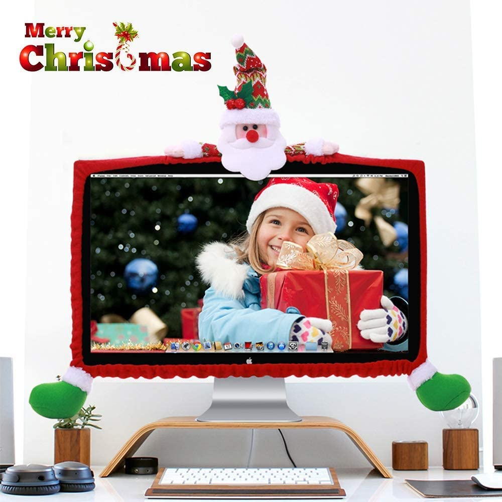 ElementDigital Computer Monitor Cover, Computer Case Christmas Three-Dimensional Cartoon Decorations for Home Mall Office Photography Christmas New Year (Snowman)
