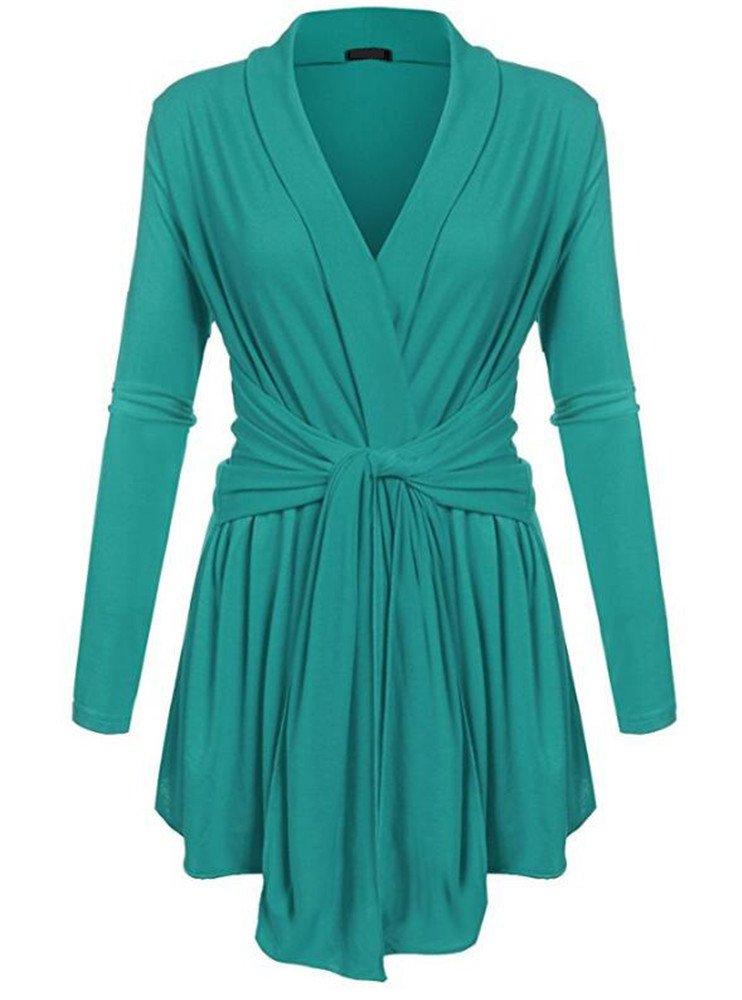 HILEELANG Women's Fashion Long Sleeve Basic Tunic Soft Cotton Shirt Dress Top Belt Blouse