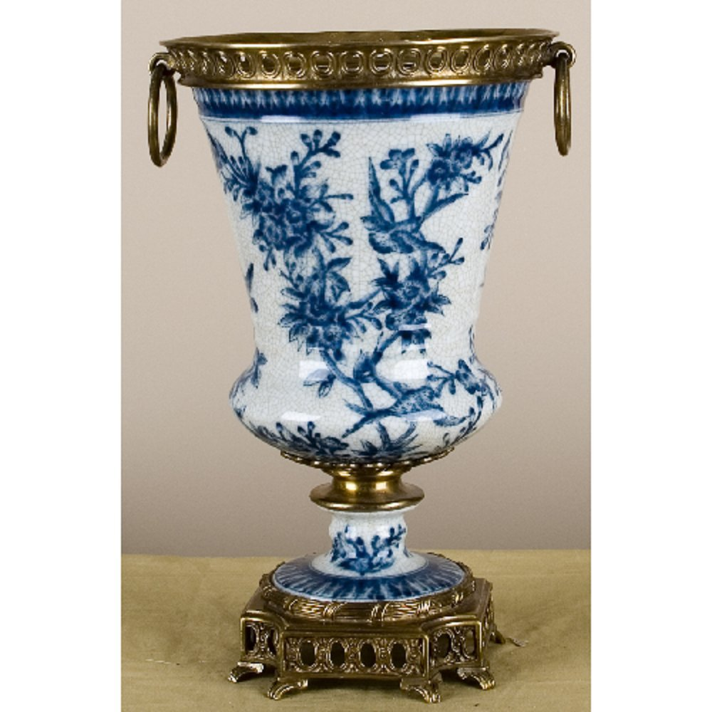 Home decor. Blue and White Porcelain Vase With Bronze Ormolu. Dimension: 7.5 x 7.5 x 11. Pattern: Butterfly.