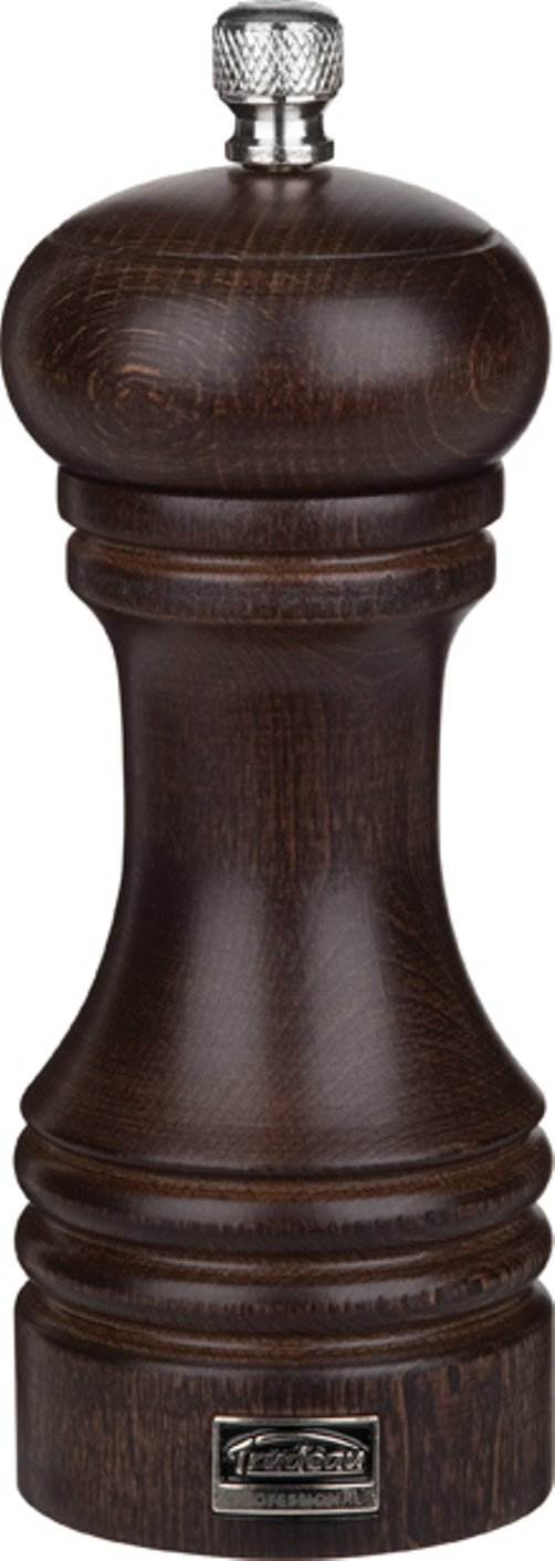 Trudeau 6 inch Stainless Steel Salt Mill - Chocolate Finish Wood