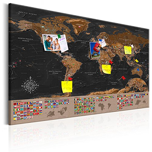 Murando world map with pinboard xxl120x80 cm print on canvas murando world map with pinboard xxl120x80 cm print on canvas beaverboard canvas decorative print on canvas and practical pinboard to pinching gumiabroncs Choice Image