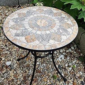 K&L Wall Art Table de Jardin Plateau de Table en mosaïque de Pierre Faite à la Main. Belle et Robuste Meuble mosaïque de…