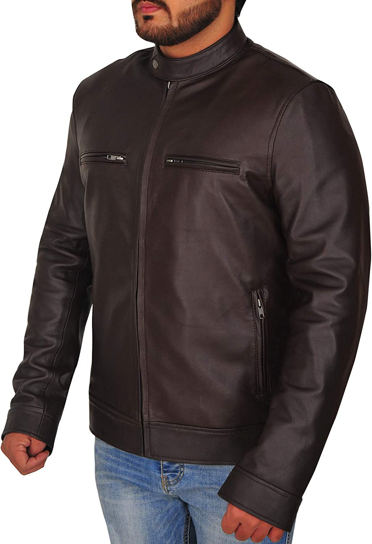 TrendHoop Mens Casual Wear Washed Brown Biker Style Slim Fit Leather Jacket