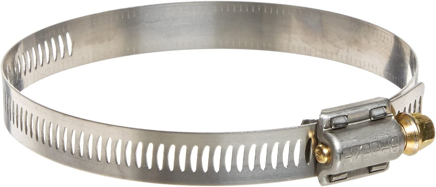 1//2 Bandwidth 1-1//16 to 2 Diameter Range Worm-Drive Pack of 10 SAE Size 24 Breeze Power-Seal Stainless Steel Hose Clamp