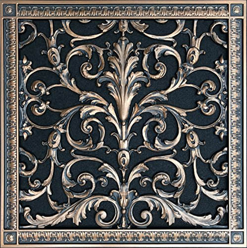 "Decorative Vent Cover, Grille, Return Register, made of Urethane Resin, in French style fits over a 16""x 16"" duct opening. Total size, 18"" by 18"", walls & ceilings only(not for floors) (Rubbed - Vent Flat Bronze Wall"