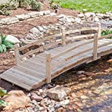 Attractive Design, Weather-Resistant 10-ft. Wood Garden Bridge with Rails - Assembly Required