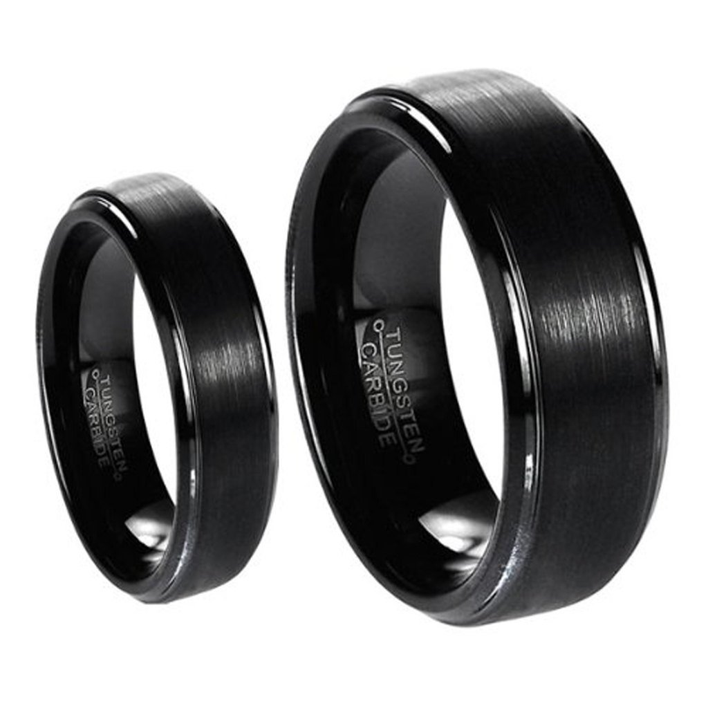 His & Her's Matching Set 6mm / 8mm Black Brushed Center with Polished Edge Tungsten Carbide Wedding Band Set