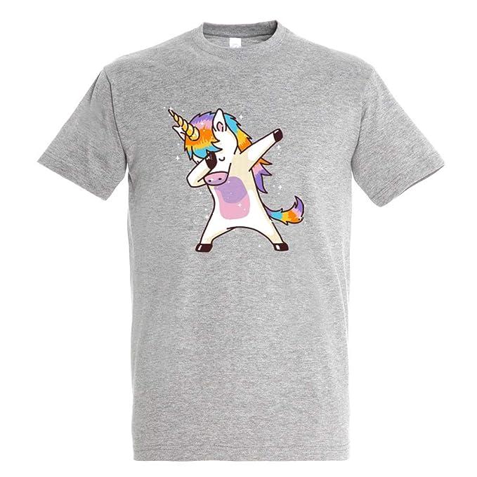 Pampling Camiseta Dabbing Unicorn Dab Dance - Unicornio Color - Gris Mezcla- 100% Algodón - Serigrafía: Amazon.es: Ropa y accesorios