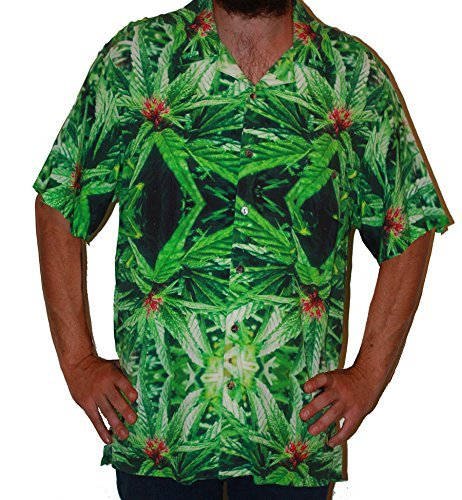 Hawaiian Shirts Mens Rayon Aloha Party Holiday Blue Widow- L by Cannaflage Designs