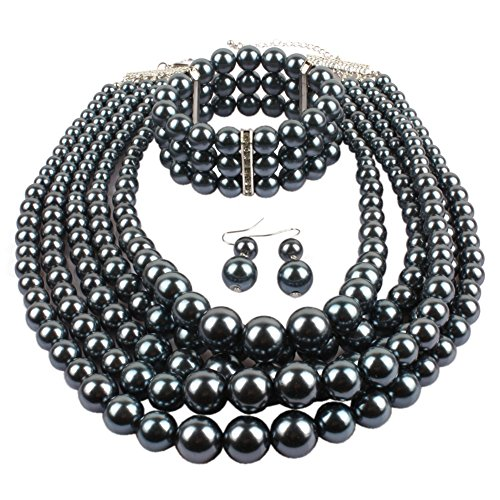 NA KOSMOS-LI Multi Layer Pearl Strand Necklace Bracelet And Earring Imitate Grey Pearl Jewelry - Pearl Necklace Gray