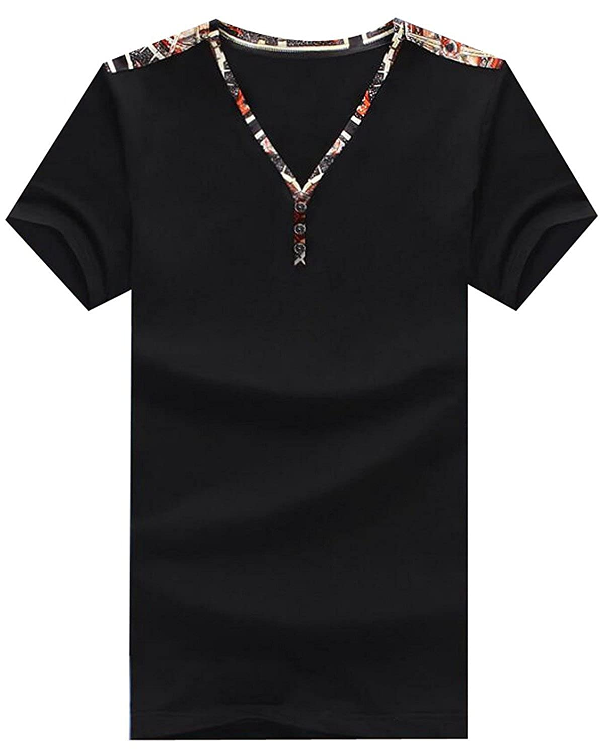 Brucest Mens Contrast Shoulder Printing Henley T-Shirt Tee product of good quallty