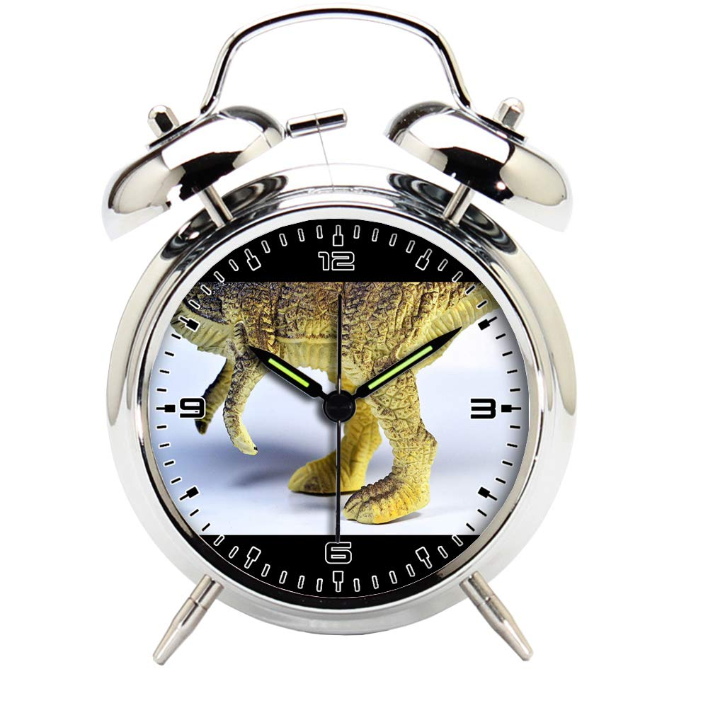 Children's Room Silver Dinosaur Silent Alarm Clock Twin Bell Mute Alarm Clock Quartz Analog Retro Bedside and Desk Clock with Nightlight-507.611_Dinosaur, Tyrannosaurus, Toy, Legs, Animal, Jurassic