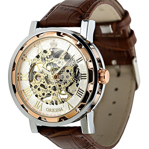 Collection Brown Leather Watch (ESS Men's Man Brown Leather Stainless Silver Skeleton Semi Mechanical Mens Men Wrist Watch GIFT WM342)