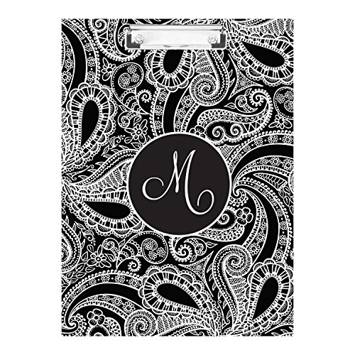 Black Patterned Monogrammed Double Sided Hardboard Clipboard